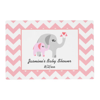 Elephant Baby Shower Pink and White Placemat