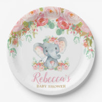 Elephant Baby Shower Pink Blush Floral Baby Girl Paper Plate