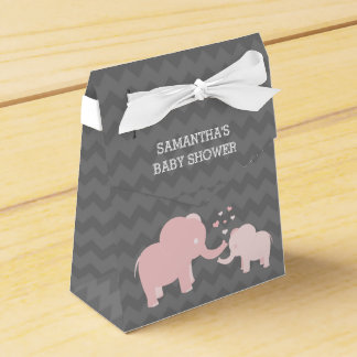 Elephant Baby Shower Pink Grey Tent Favor Box