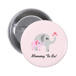 Elephant Baby Shower Pink Pinback Button