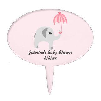 Elephant Baby Shower Pink Umbrella Cake Picks