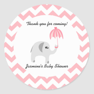 Elephant Baby Shower Pink Umbrella Classic Round Sticker
