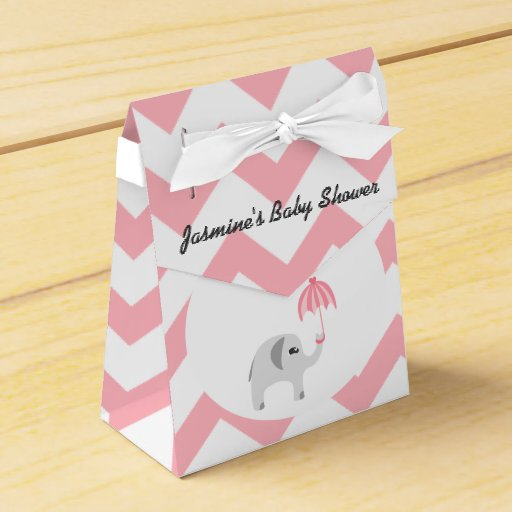 Baby Shower Favors Umbrella ~ Elephant baby shower pink umbrella favor box zazzle