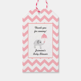 Elephant Baby Shower Pink Umbrella Gift Tags