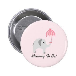 Elephant Baby Shower Pink Umbrella Pinback Button