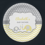 "Elephant Baby Shower Plate, EDITABLE COLOR Paper Plate<br><div class=""desc"">Have your guests eat with style on this sweet elephant-themed plate! Accent color is editable by using the eye dropper tool.