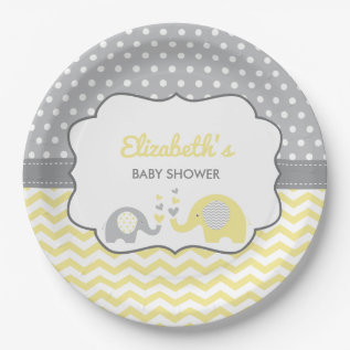 Elephant Baby Shower Plate, Editable Color Paper Plate at Zazzle