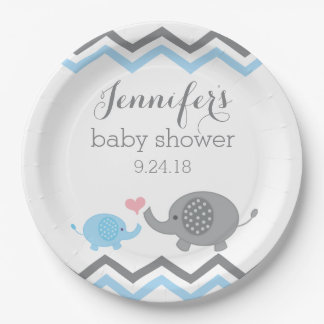 Elephant Baby Shower Plates | Blue Gray Chevron 9 Inch Paper Plate