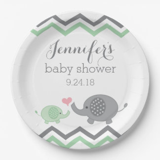 Elephant Baby Shower Plates | Green Gray Chevron