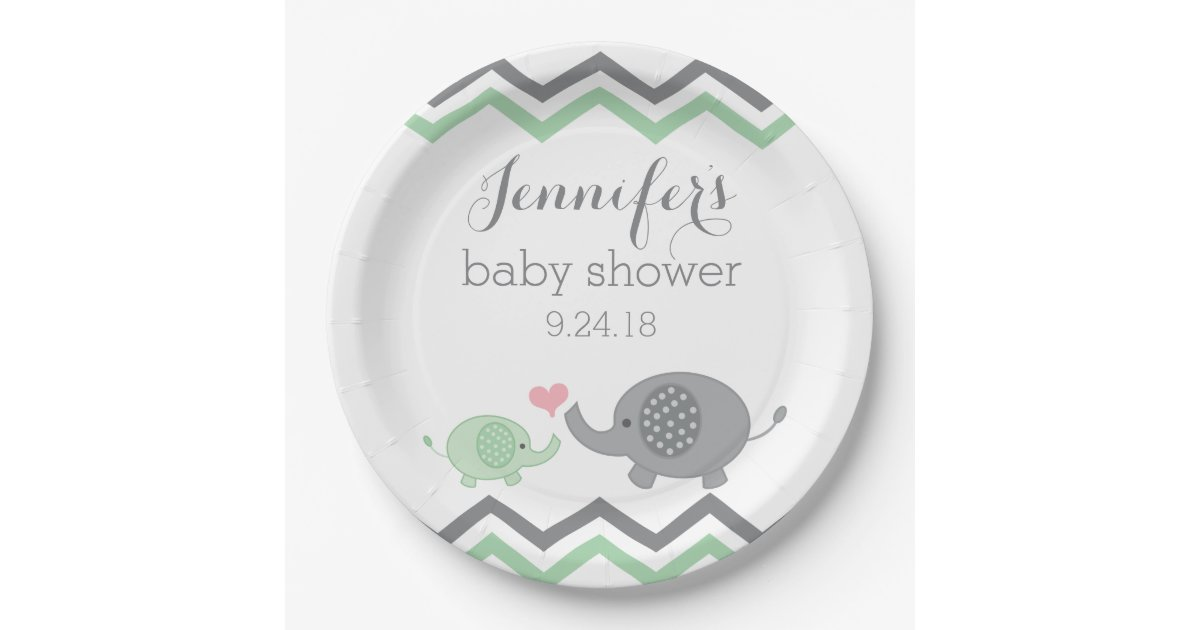 elephant baby shower plates green gray chevron zazzle
