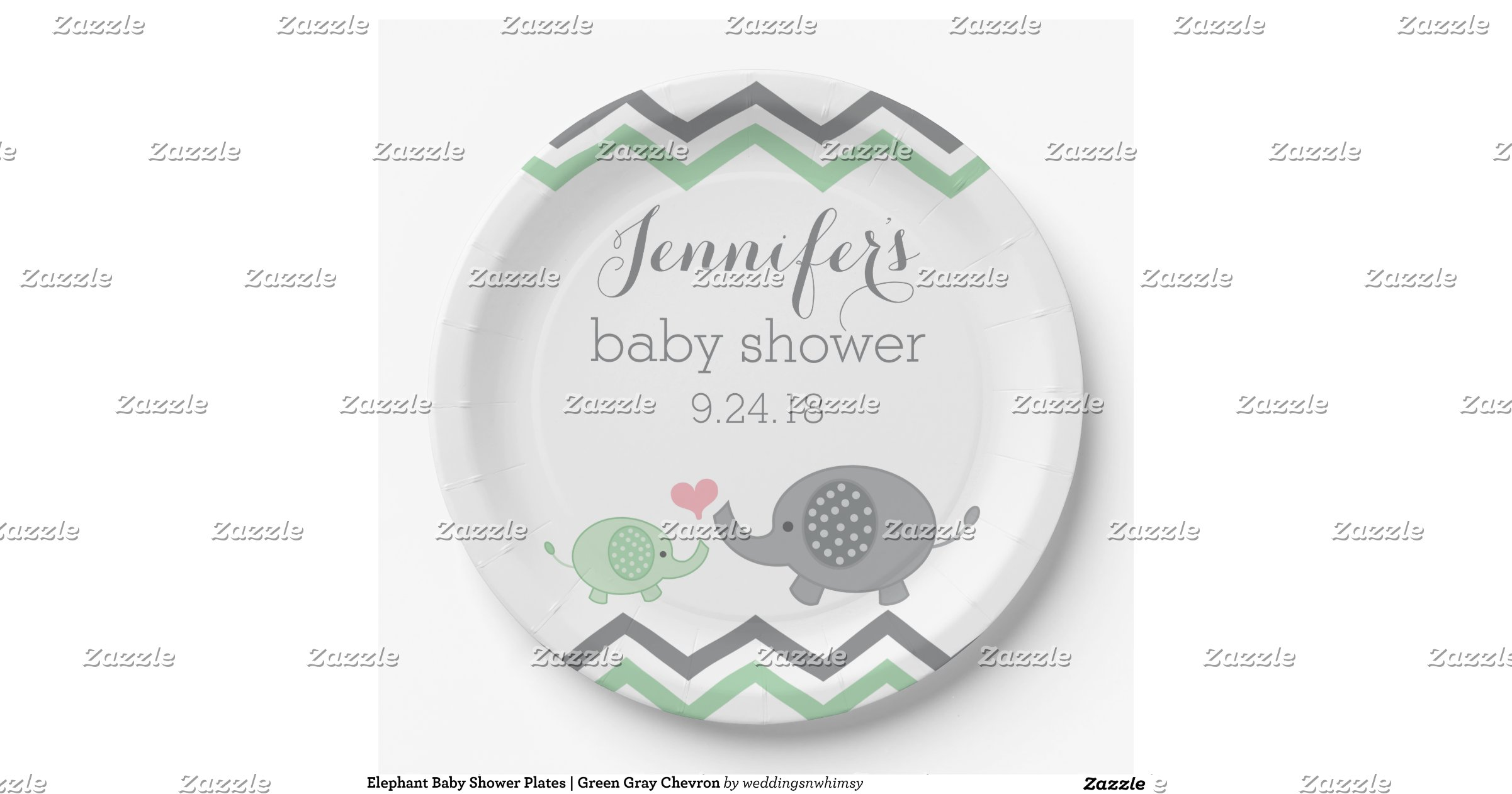 elephant baby shower plates green gray chevron 9 inch paper plate