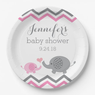 elephant baby shower plates pink gray chevron