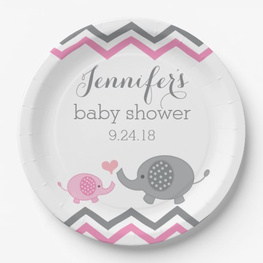 elephant baby shower plates pink gray chevron 9 inch paper plate