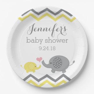 Elephant Baby Shower Plates   Yellow Gray Chevron
