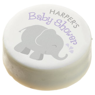 Elephant Baby Shower | Purple and Gray Chocolate Dipped Oreo