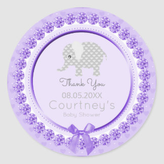 Elephant Baby Shower Purple Gray Thank You Favor Classic Round Sticker
