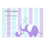 Elephant Baby Shower - Purple 5x7 Paper Invitation Card