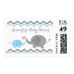 Elephant Baby Shower Stamps Blue Gray Chevron Boy