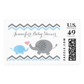Elephant Baby Shower Stamps Blue Gray Chevron Boy