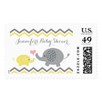 Elephant Baby Shower Stamps Yellow Gray Chevron