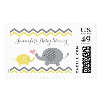 Elephant Baby Shower Stamps Yellow Gray Chevron