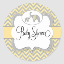 Elephant Baby Shower Sticker in Yellow Chevron