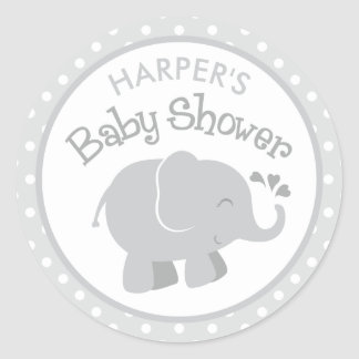 Elephant Baby Shower Stickers | Gray and White