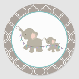 Elephant Baby Shower Stickers - Lavender/Teal