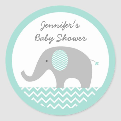 Elephant Baby Shower Stickers Mint Green & Grey