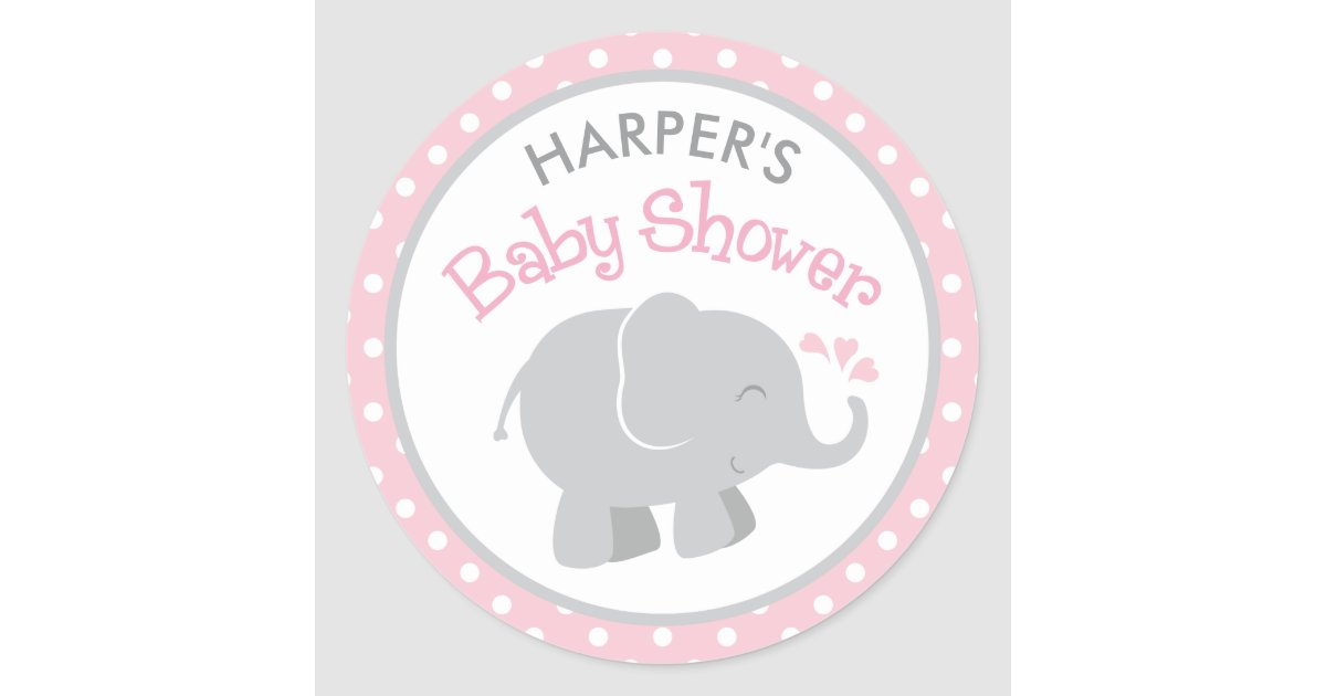 Elephant Baby Shower Stickers Pink And Gray