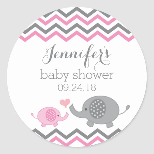 Elephant Baby Shower Stickers Pink Gray Chevron