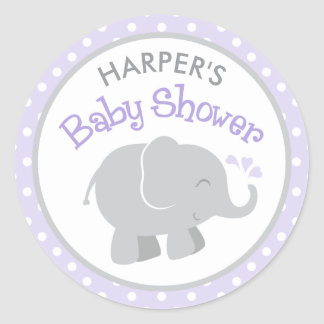 Elephant Baby Shower Stickers | Purple and Gray