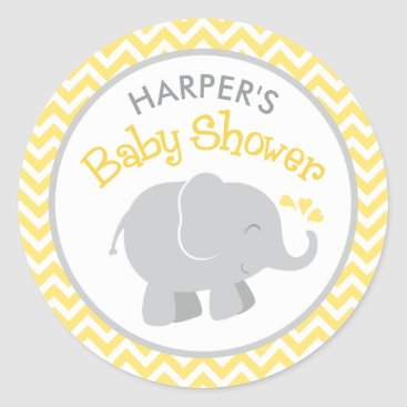 Toddler & Baby themed Elephant Baby Shower Stickers | Yellow and Gray
