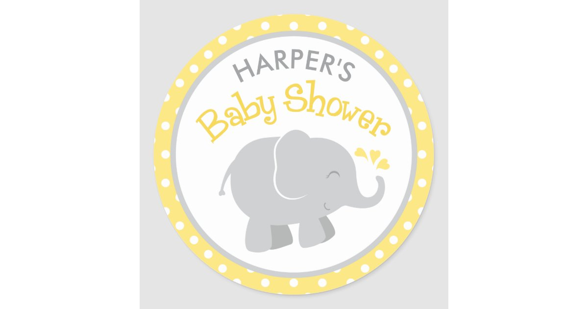 Elephant Baby Shower Stickers Yellow And Gray Zazzle Com