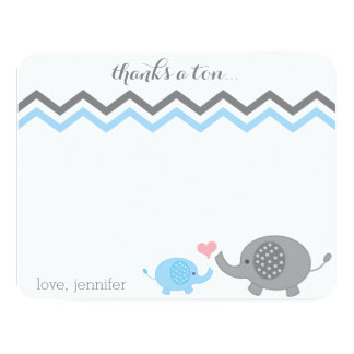 Elephant Baby Shower Thank You Blue Gray Chevron Card