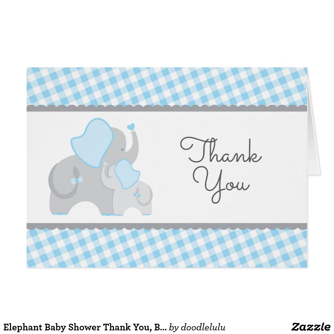 Elephant Baby Shower Thank You, Blue Gray Gingham