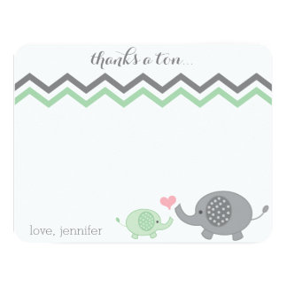 Elephant Baby Shower Thank You Green Gray Chevron Card