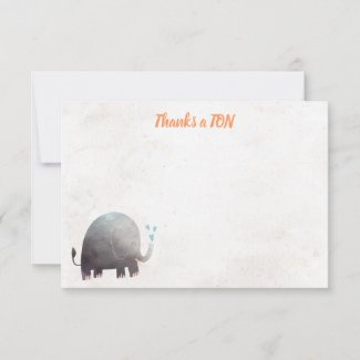 Elephant Baby Shower Thank You Note Cards