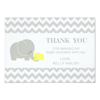 Elephant Baby Shower Thank You Note Chevron Card