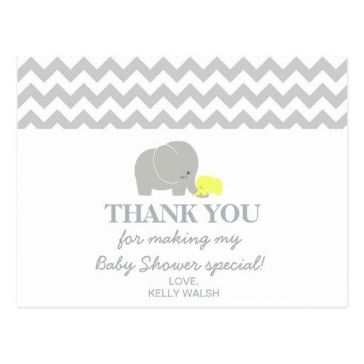 elephant baby shower thank you note chevron postcard zazzle