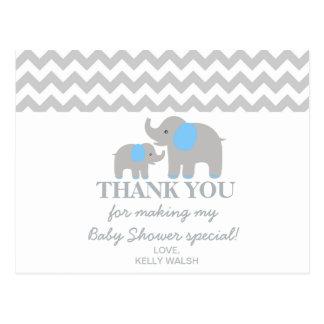 Elephant Baby Shower Thank You Note Chevron Postcard