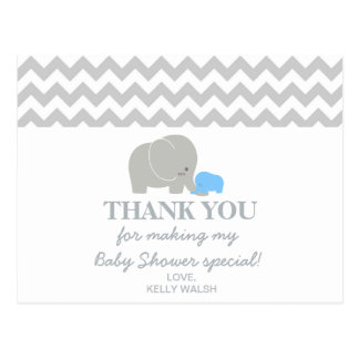 Elephant Baby Shower Thank You Note Chevron Postcard