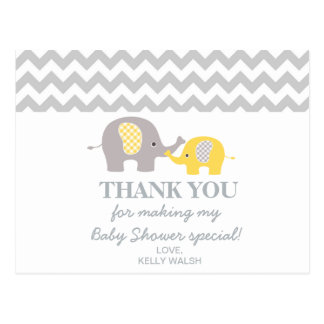 Marvelous Elephant Baby Shower Thank You Note Chevron Postcard