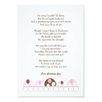 Elephant baby shower thank you notes / pink brown card