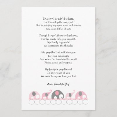 pink and gray elephants book baby shower thank you zazzlecom