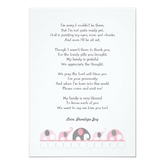 Elephant baby shower thank you notes / pink grey