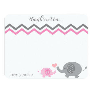 Elephant Baby Shower Thank You Pink Gray Chevron Card