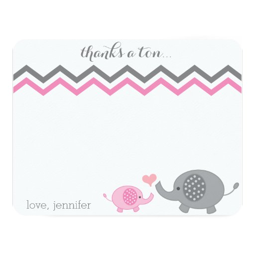 Elephant Baby Shower Thank You Pink Gray Chevron Personalized Announcement