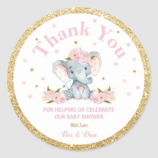 Elephant Baby Shower Thank You Sticker Labels