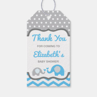 elephant baby shower thank you tag editable color gift tags